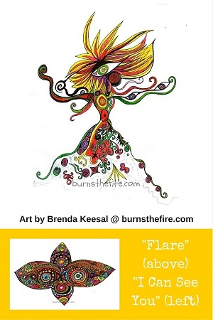 400 px Art by Brenda Keesal @ burnsthefire Flare and I Can See You