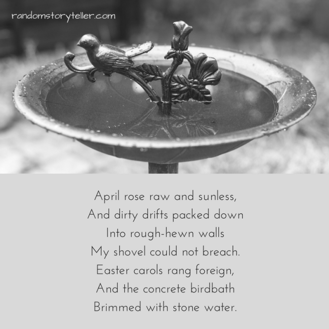 I Away (or Iowa dreams) poem excerpt by randomstoryteller chamrickwriter with image of birdbath in winter