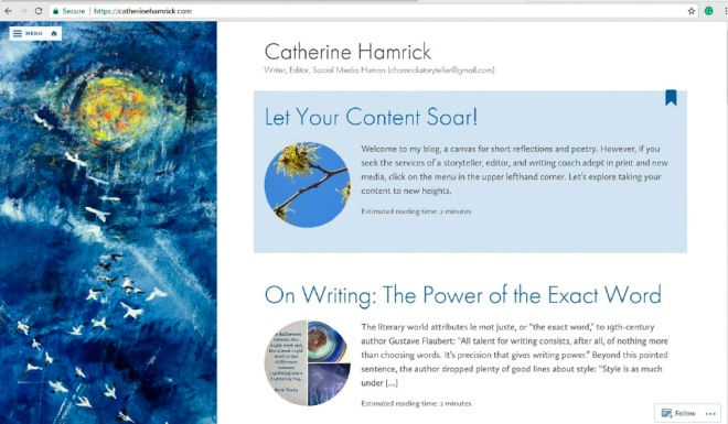 catherinehamrick.com-writer-editor-social media human with links to editorial service and featuring painting of snow geese soaring into the sun