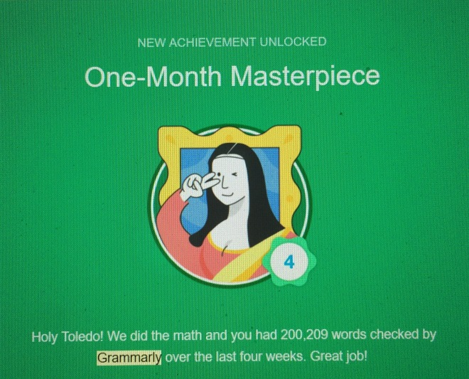 Grammarly report card via randomstoryteller.com writerchamrick featuring cartoon of happy Mona Lisa