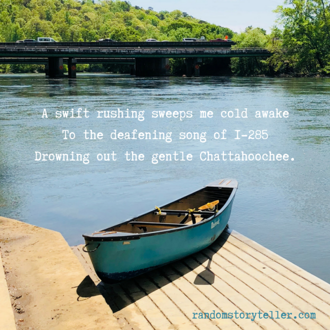 Quote from _Chattahoochee Song_ #1_ by randomstoryteller.com chamrickwriter with image of boat and bridge over I-285