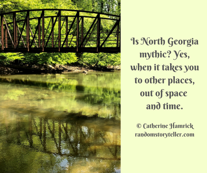 Quote by chamrickwriter randomstoryteller.com with image of trestle bridge at Powers Island on Chattahoochee River Atlanta Georgia